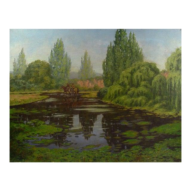 California Horsemen Oil on Canvas For Sale