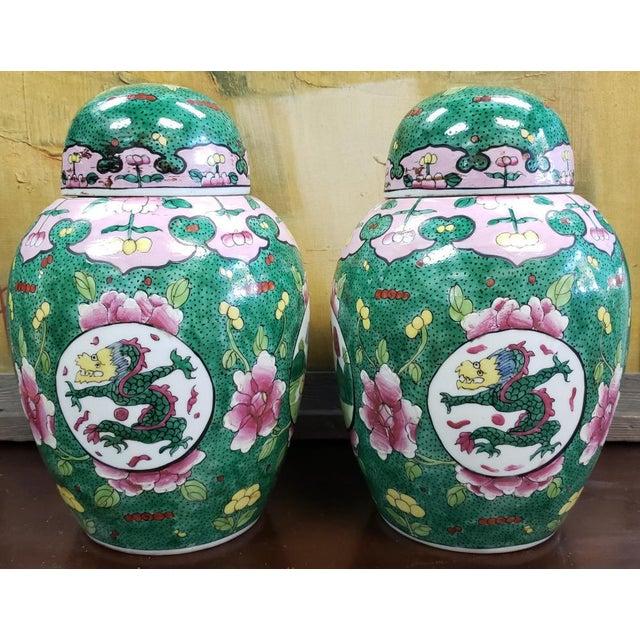 C. 1880 Chinese Famille Verte Porcelain Enameled Floral/Dragon Motif Ginger Jars - a Pair For Sale - Image 9 of 9