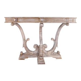 Solid Wood Rustic White Wash Console For Sale