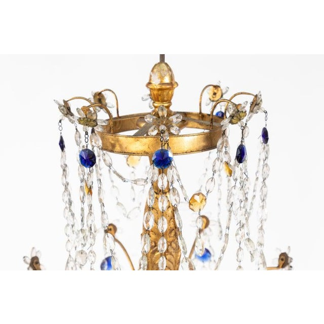 Early 19th Century 18th Century Italian Giltwood and Gilded Iron Chandeliers - a Pair For Sale - Image 5 of 12