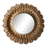 Image of Mid-Century French Convex Giltwood Sunburst Mirror For Sale