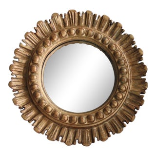 Mid-Century French Convex Giltwood Sunburst Mirror For Sale