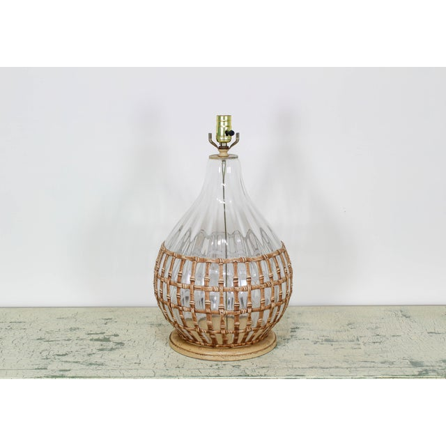 1970's Glass Table Lamp With Faux Bamboo Motif For Sale In Miami - Image 6 of 6