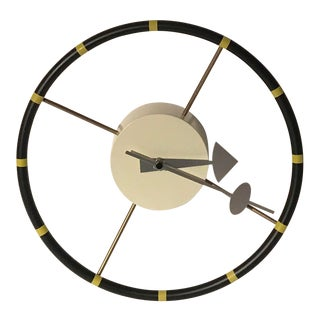 1990s Vintage George Nelson Inspired Steering Wheel Wall Clock
