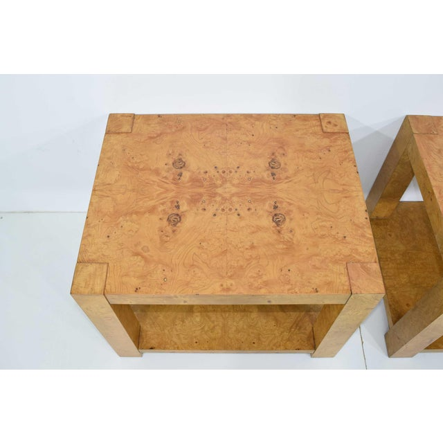 Pair of Milo Baughman Burl Wood End Tables or Nightstands For Sale - Image 9 of 10