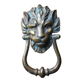 Late 19th Century Vintage English Victorian Lion Door Knocker For Sale