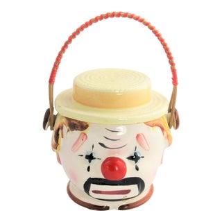 Vintage Japanese Clown Ceramic Figural Biscuit Jar For Sale