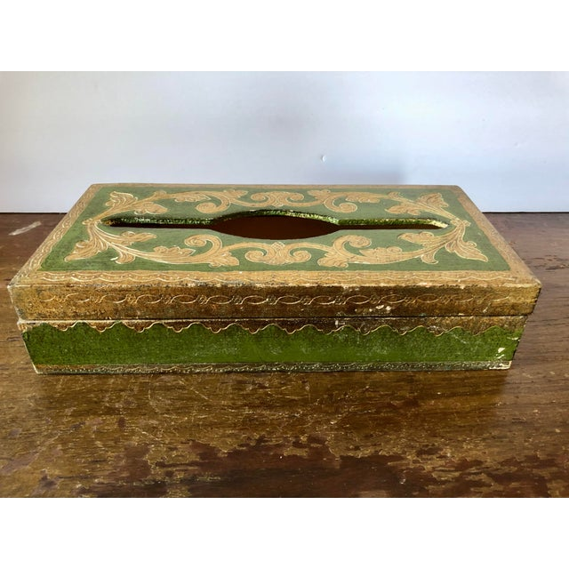Vintage Florentine Green Gilt Tissue Box Cover For Sale In Buffalo - Image 6 of 6