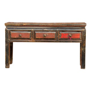 Antique Painted Tibetan Low Console For Sale