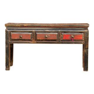 Antique Painted Tibetan Low Console For Sale