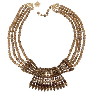 Vendome Necklace Vintage Prototype Brown Rhinestones and Beads Never Produced For Sale