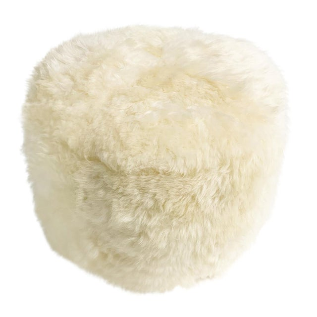 Forsyth Sheepskin Pouf Ottoman For Sale