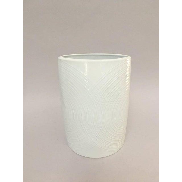 Contemporary White Porcelain Naaman Op Art Pillow Vase For Sale - Image 3 of 10