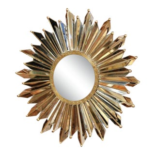 Early 20th Century French Brass Sunbust Mirror With Glass Beams From Paris For Sale