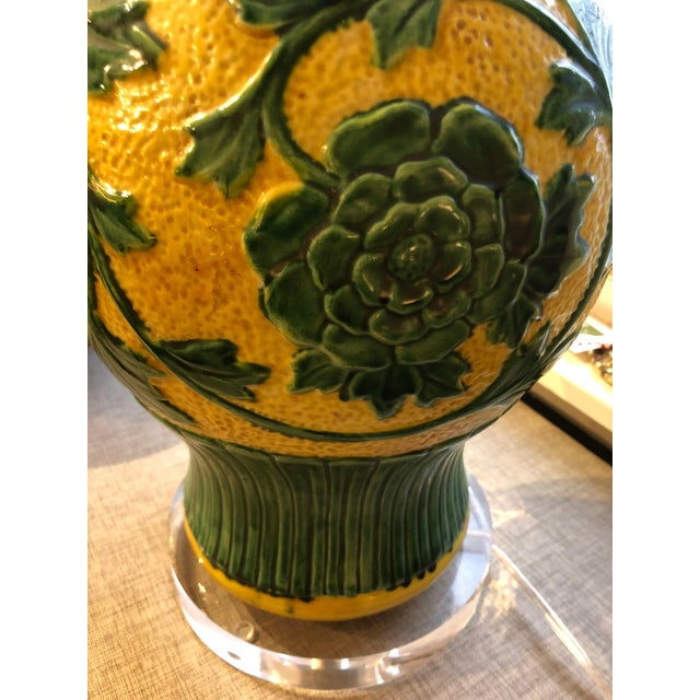 1940s Striking Large Yellow and Green Chinese Vase Shaped Lamp For Sale - Image 5 of 6