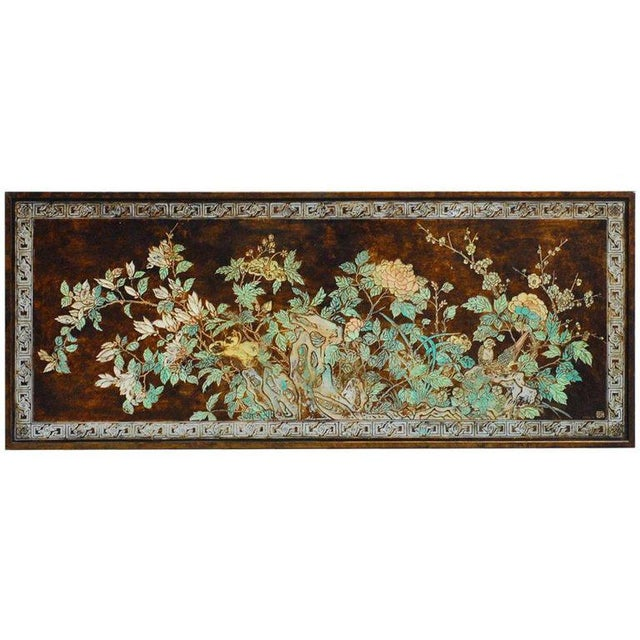 Chinese Floral and Foliate Painted Relief Panel For Sale - Image 11 of 11