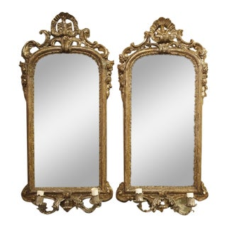 Pair of Antique Mirror Wall Sconces from Italy, Circa 1740 For Sale