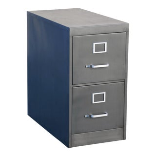 1960s 2-Drawer Filing Cabinet, Refinished in Natural Steel