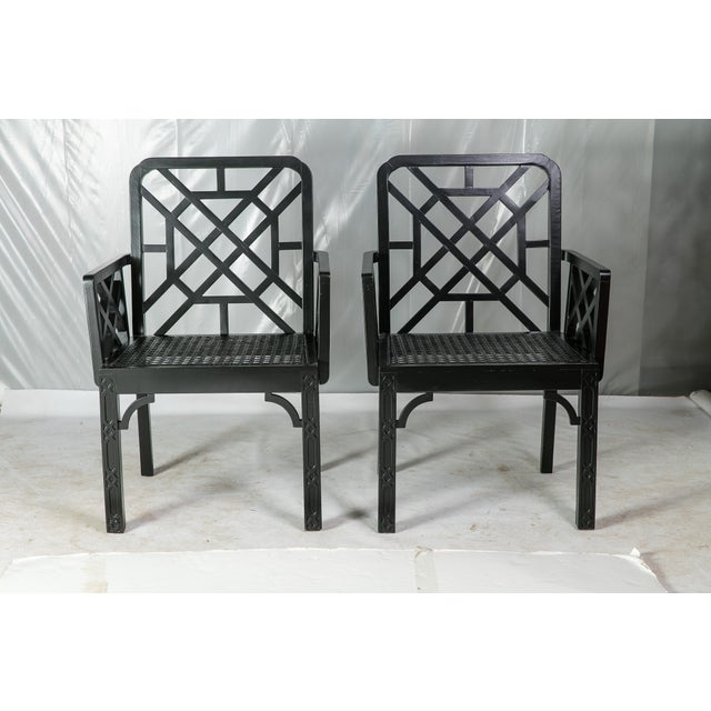 1980s Vintage Madcap Cottage Black Chinoiserie Fretwork Chairs-a Pair For Sale - Image 13 of 13