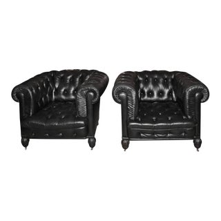 Chesterfield Leather Tufted Club Seats - A Pair