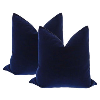 "22"" Sapphire Blue Velvet Pillows - a Pair"