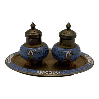 Vintage Siam Bangkok Cloisonné Brass Enamel Salt and Pepper Set With Under Tray - 3 Pieces For Sale