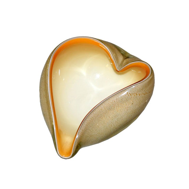 Hand Blown heart shaped beige & caramel colored Murano art glass ashtray, decorative catchall or bowl made in Italy and...