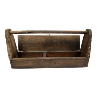 1940s Vintage Primitive Handcrafted Hinged Top Wood Toolbox For Sale