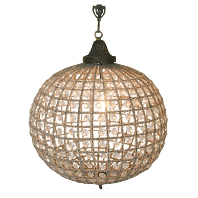 2010s French Beaded Glass and Metal Globe Chandelier For Sale - Image 5 of 5