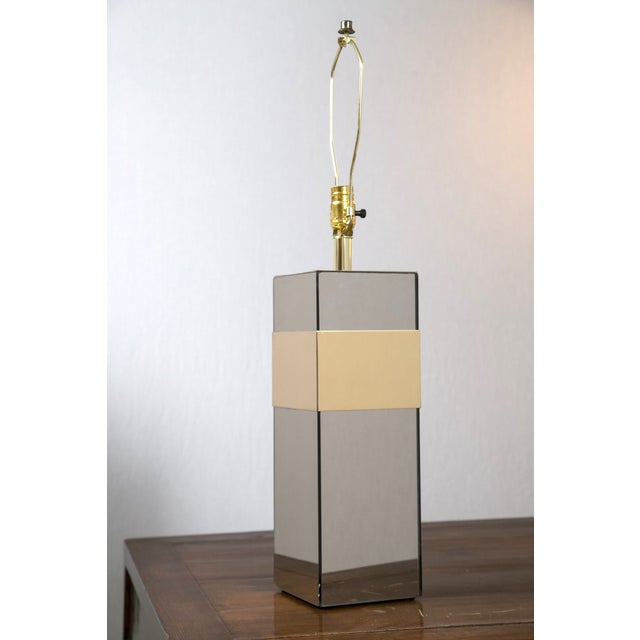 Paul Evans Style Glass & Brass Table Lamp - Image 3 of 7