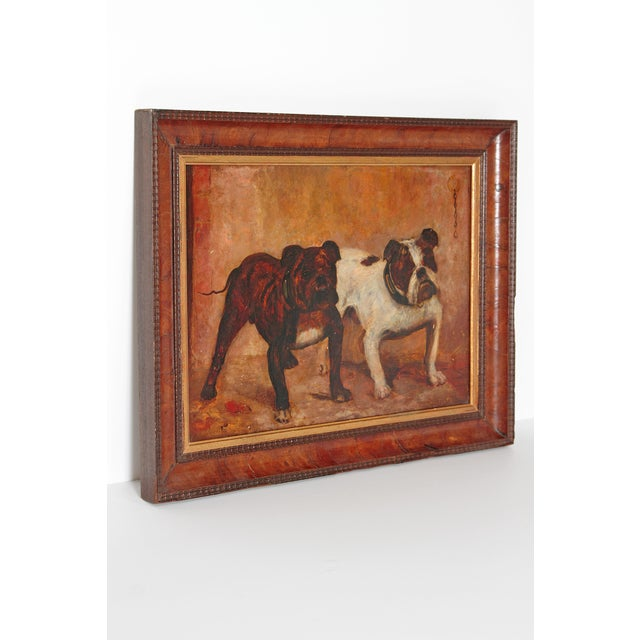 Traditional Small Oil Painting on Board of Dogs For Sale - Image 3 of 13