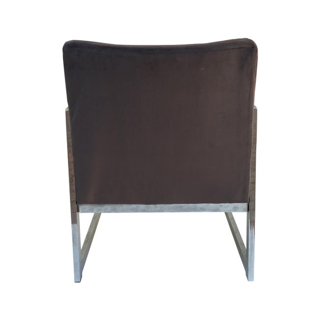 Vintage Modern Chrome & Grey Velvet Chairs - a Pair - Image 5 of 6