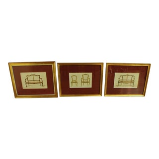 Mid 19th Century Vintage French Furniture Lithographs- Set of 3 For Sale