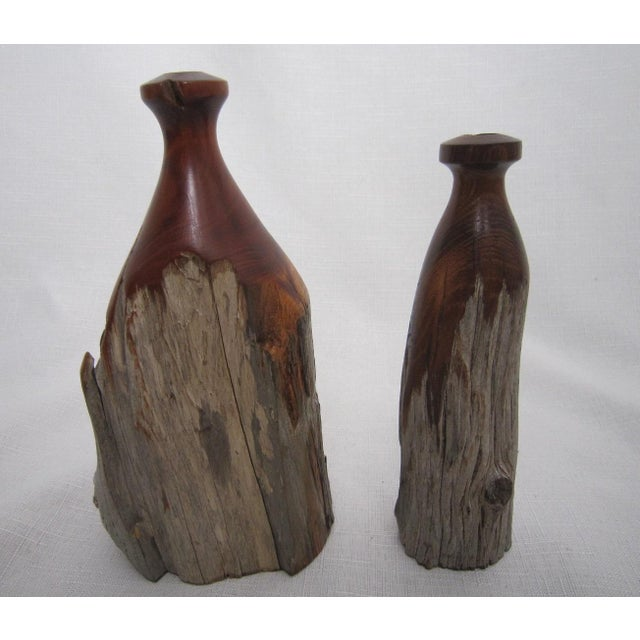 Mid Century Burl Wood Vases - Pair - Image 4 of 4
