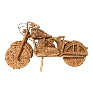 1970s Danish Golden Wicker Motorcycle Statue