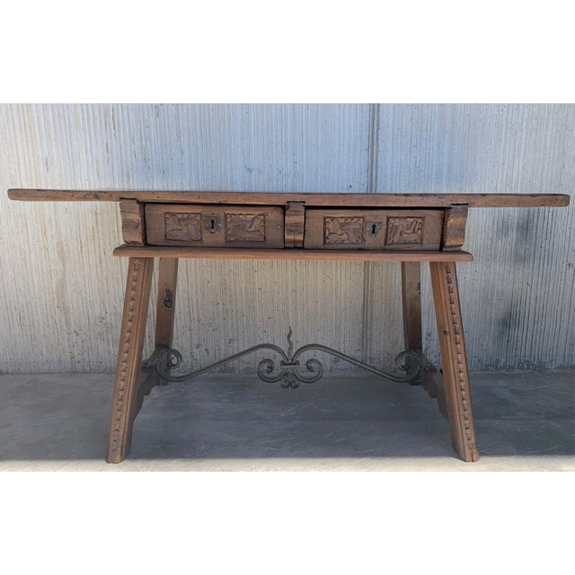 Late 18th Century 18th Century Spanish Baroque Walnut Trestle Table, Restored For Sale - Image 5 of 13