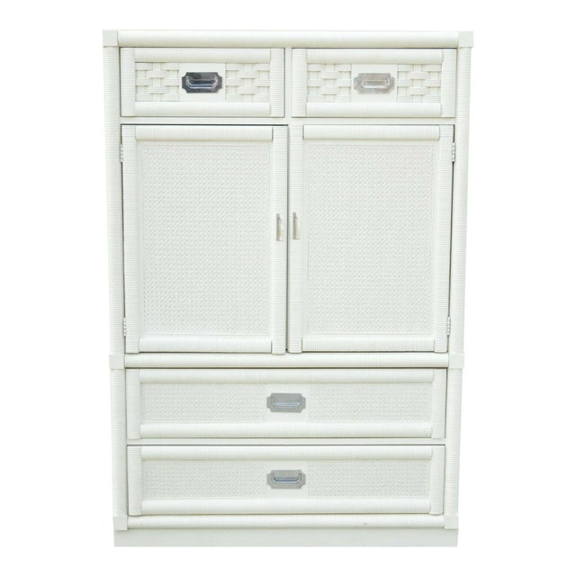 Vintage Dixie Cane Rattan Campaign Style White Tall Chest Armoire Dresser Cabinet For Sale