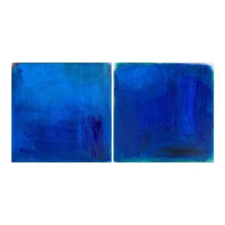 """""""Deep Blue Sea"""" Abstract Diptych Monochromatic Oil Painting - a Pair For Sale"""