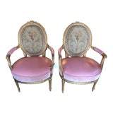 Image of 19th Century French Carved Gilt & Pink Leather Aubusson Back Arm Chairs - a Pair For Sale