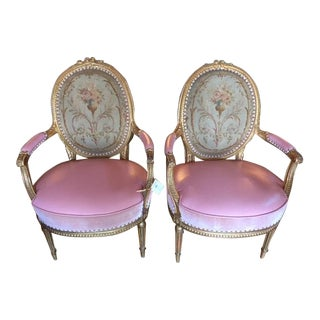 19th Century French Carved Gilt & Pink Leather Aubusson Back Arm Chairs - a Pair