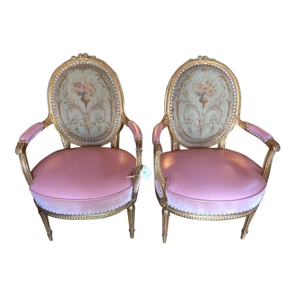 19th Century French Carved Gilt & Pink Leather Aubusson Back Arm Chairs - a Pair For Sale