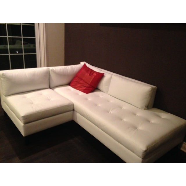 Modern White Faux Leather L-Shaped Sofa - Image 3 of 6