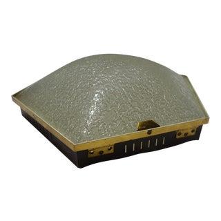Stilnovo Hexagonal Textured Glass & Brass Flushmount Light