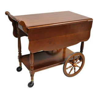 Vintage Monitor Solid Cherry Wood Colonial Style Rolling Bar Tea Cart Server For Sale