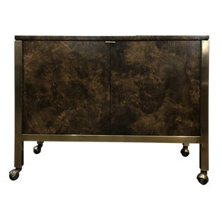 1970s Mid-Century Modern Tomlinson Burl Wood and Brass Sideboard For Sale
