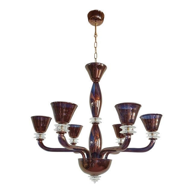 Large Mid Century Modern Bronze Color Mirrored Murano Glass 6 Lights Chandelier
