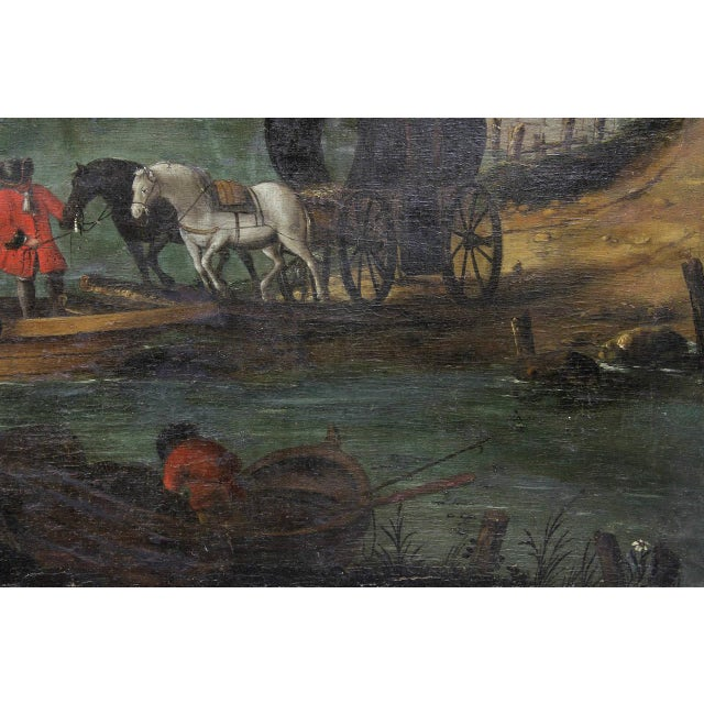 Blue Flemish Oil on Canvas Painting of a Boat in Harbor For Sale - Image 8 of 11