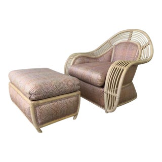 1980s Vintage Palm Beach Regency Rattan and Reed Lounge Chair & Ottoman For Sale