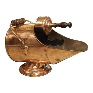 Antique Copper Coal Scuttle From France, Circa 1900 For Sale