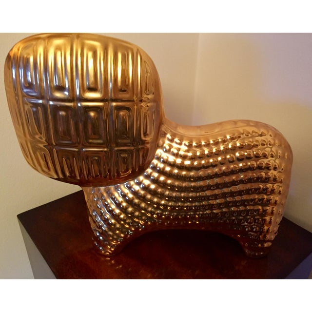 Rare metallic gold lion by Jonathan Adler. This collectors sculpture is no longer available through Jonathan Adler...
